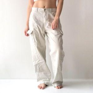Vintage Y2K Era Beige Wide Leg Cargo Pants